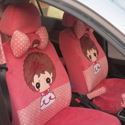 Cartoon short plush car seat cover seat cover spring and winter seasons Excelle Peugeot 307 Fox POLO