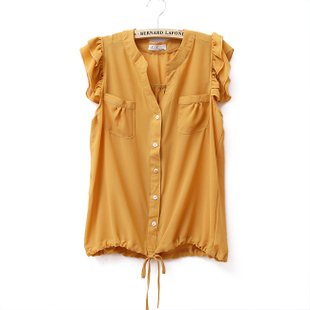 2012 Summer new Korean Lotus Leaf collar loose chiffon blouse women's shirts with short sleeves WC1115
