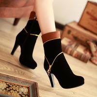 2015秋季女短靴韩版高跟中靴性感女单靴中筒靴细跟女靴马丁靴裸靴