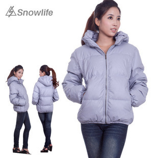 Snowlife Down Garment women PU leather genuine Delta short cap down jacket S23018