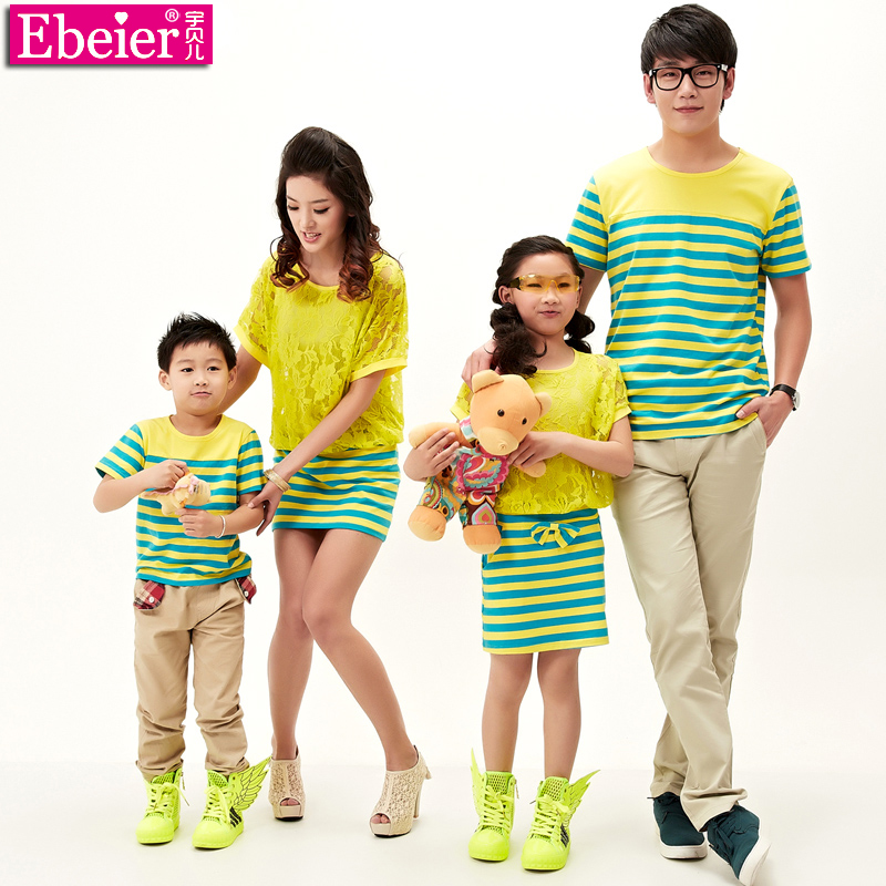 EBEIER Parent-child 2014 New summer short sleeve T shirt Family stripe  Taobao Agents