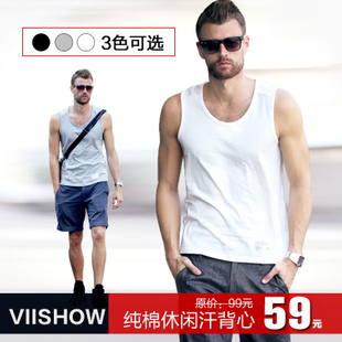 Summer summer  coin men's solid color vest men's vest cotton summer tide men's short sleeve base leisure Khan