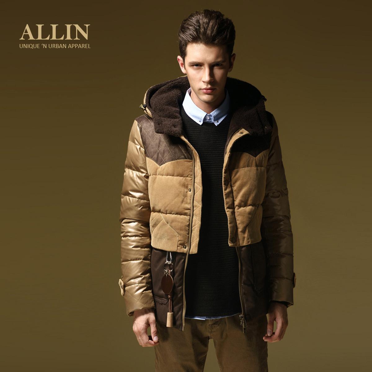 90%白鸭绒 allin冬装新款 羽绒服 男士韩版休闲修身外套 wt1211