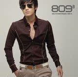 2012新款 韩版Рубашка 韩版长袖滚边金线Рубашка/男士衬衣 酒红