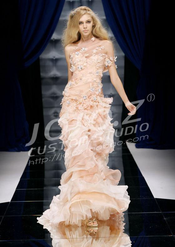 С учетом «танцы цветы» Зухаир Мурад Каскад голый оранжевый Диагональ рыбий хвост вечернее платье