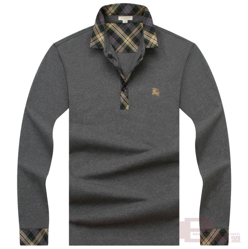 热卖经典 秋季男装新品 沉稳商务纯色绣标长袖t恤 男长袖POLO衫