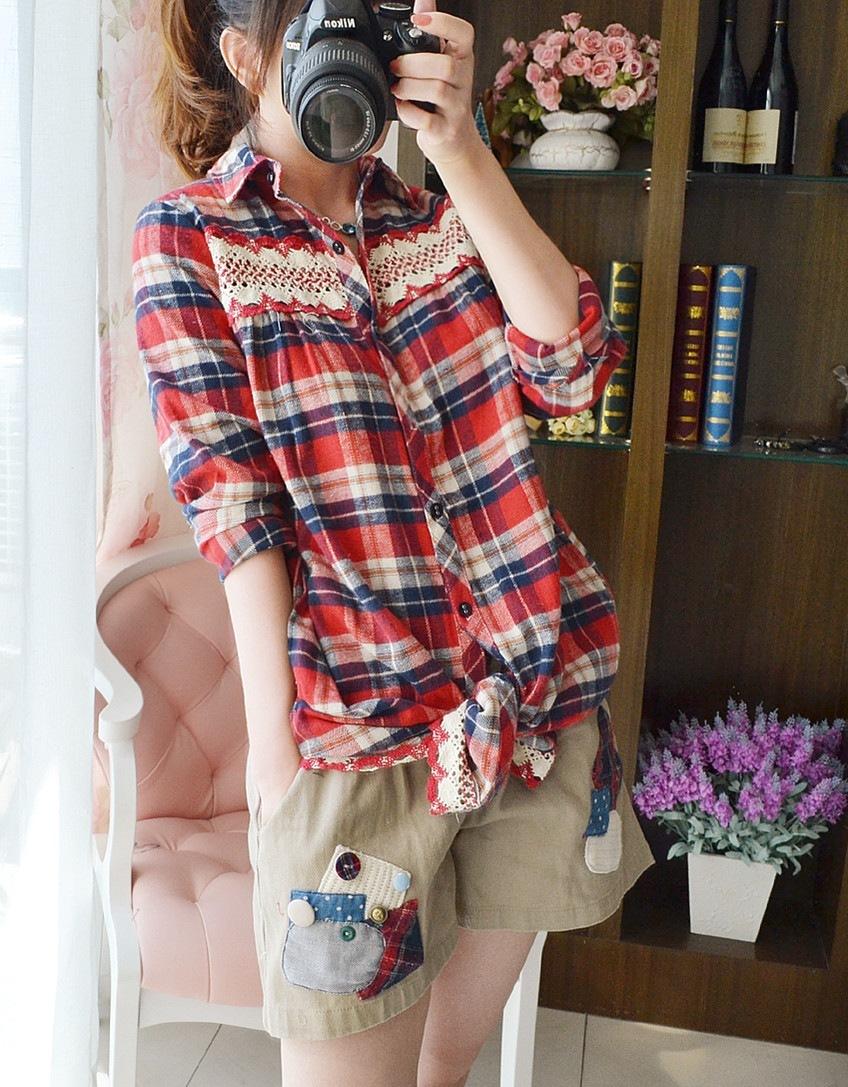 женская рубашка 2013 леди Kasuga Мори девушка плюс размер расслабленной длинные мм толстый кружева плед фланелевой рубашке длинный рукав Другой стиль Длинный рукав В клетку Отложной воротник Один ряд пуговиц