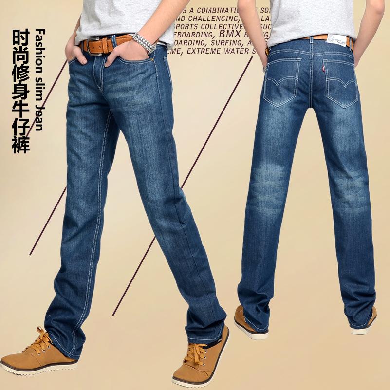 Джинсы мужские 2014 в простой моды Джокер ноги мужчины корейской версии тонкая талия прямые ноги денима джинсы 348358