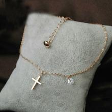 Hermosa pulsera para el tobillo de titanio industria de la joyería cruza una pequeña tarjeta con la pulsera tobillera paquete de circón