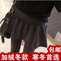 韩国代购百褶假两件套打底裤裙加厚加绒冬款显瘦高品质打底裤包邮