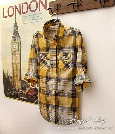 женская рубашка G2204 Городской стиль Длинный рукав В клетку