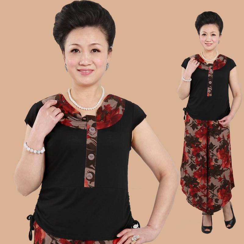 中老年女装夏装短袖套装中年女装妈妈装新款民族中老年服装老年人