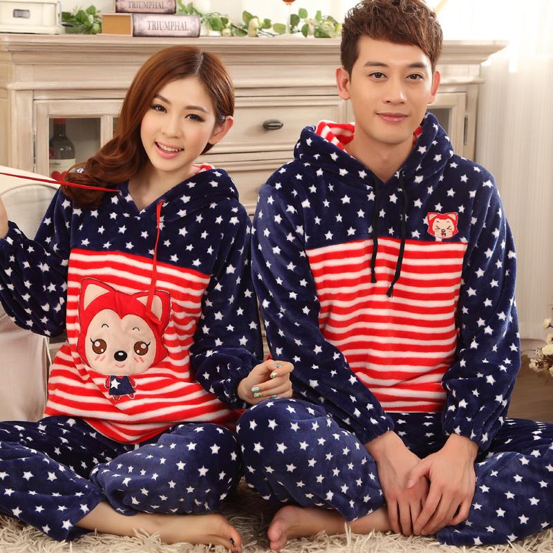 梦依情 秋冬季情侣加厚法兰绒卡通可爱睡衣男女士长袖家居服套装