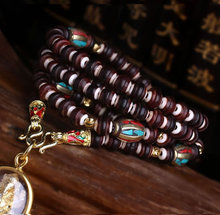High-end Thai Buddha brand chain Old material lobular red sandalwood a hippopotamus tooth bone Buddha card accesories Paragraphs gold silver