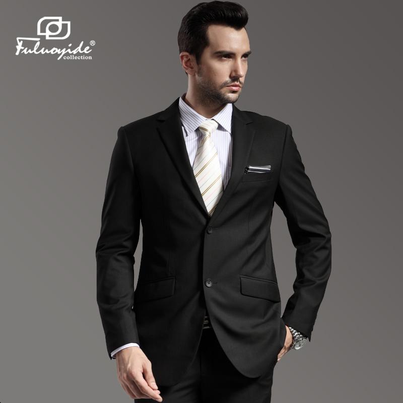 男士西服套装 修身职业正装 黑色商务 西装套装 结婚新郎伴礼服