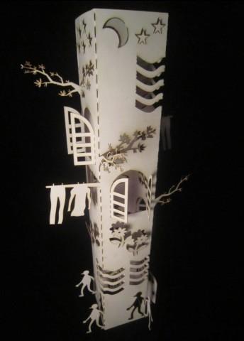 立体构成作业,3d卡纸造型建筑模型纸雕教具折纸手工作业比赛图纸