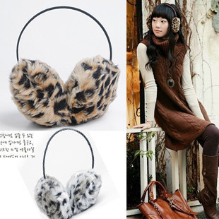 Korea Leopard ultra soft and comfortable headset ear warm in autumn and winter fashion-wear ear after ear hood hood 80g
