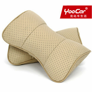 Genuine YOOCAR leather hole punch car pillow headrest for vehicle nursing pillow (put) three color optional