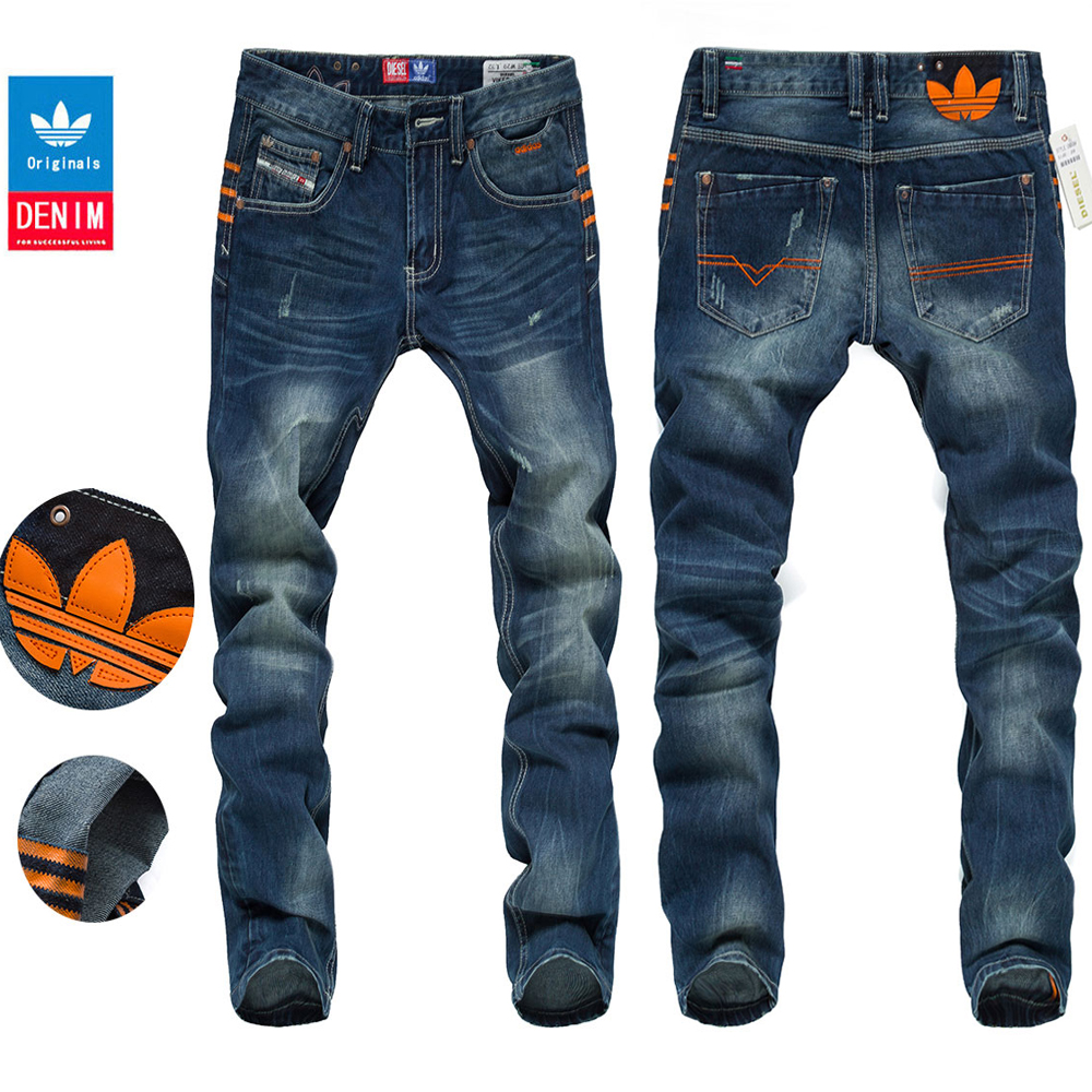 正品代购阿迪达斯diesel三叶草男士牛仔裤潮流直筒修身纯棉潮裤子