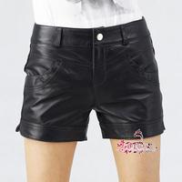 圣佳绵羊皮短裤 真皮短裤时尚裤 低腰女皮裤 女短裤 羊皮裤子