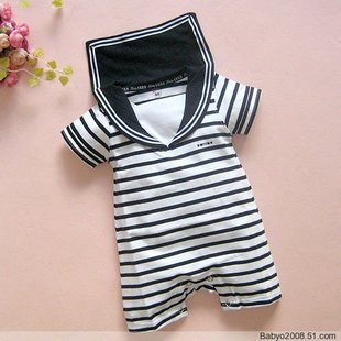 Summer baby clothing black stripe Navy suit dual-use document new baby Siamese clothes