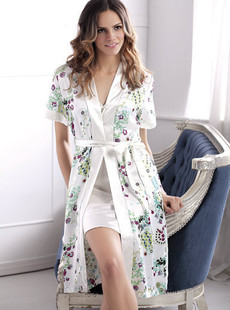 Dream ba Sally Moonbasa refined printing copy silk short sleeve robes (011411211)