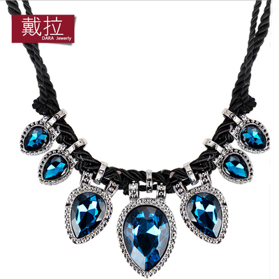 La adornment necklace female brief paragraph collarbone fashion in Europe and the exaggerated accessories black rope to