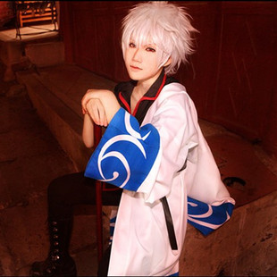 Specials Gintama sakata gintoki cos clothes COSPLAY clothes A silver Bokken Wigs / wig accessories