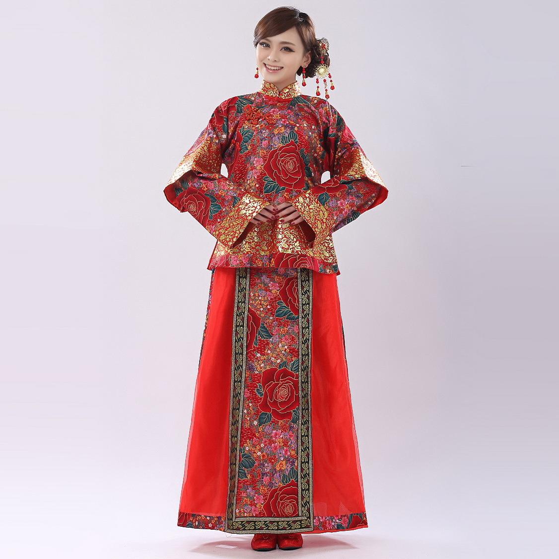 新娘秀禾服新款秀和装敬酒服 中式礼服 古装仙女装演出 唐装汉服图片