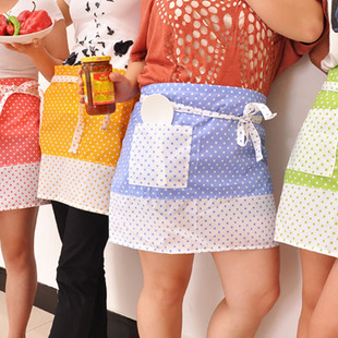Exporting Korea fashion housewife dots candy-color trade half apron with Pocket 70g