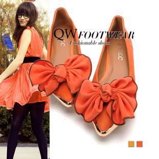 Korea on  feet are super nice orange bow metal decorative shoe head pointed soft folds flat with danxie