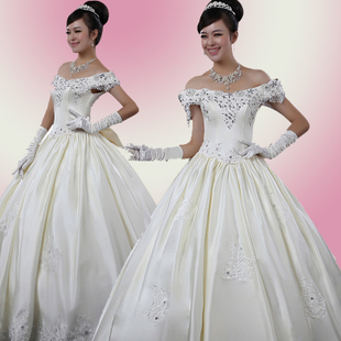 Qingguo wedding dress wedding dresses wedding dress 2011 latest Korean Princess sweet one shoulder skinny dress