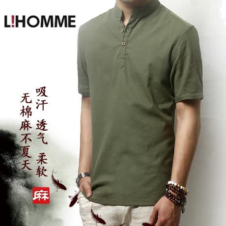 LIHOMME中国风复古棉麻衬衣潮男士短袖亚麻衬衫 夏季薄款休闲上衣
