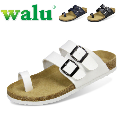 walu genuine summer Korean version of the trend set toe flip-flops Men cork slippers, beach slippers A21