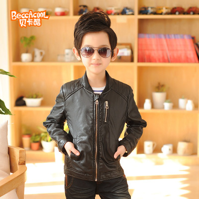 2014 spring and autumn new brand children's clothing children's leather jacket big virgin boy PU leather jacket black tide