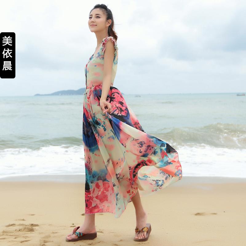 2014夏装新款清新文艺水墨画荷叶袖无袖背心裙沙滩长裙雪纺连衣裙