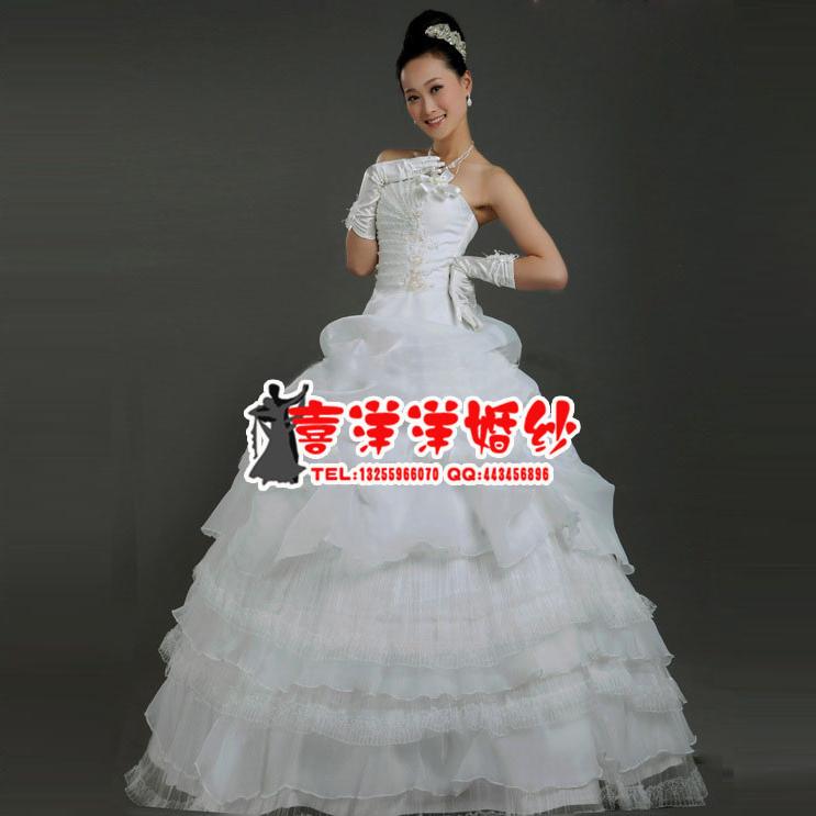 新款婚纱 韩版甜美公主婚纱 抹胸齐地款 显瘦 可定做大码婚纱