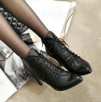 特价秋冬款欧美尖头女鞋系带复古高跟及裸短靴机车靴百搭OL鞋