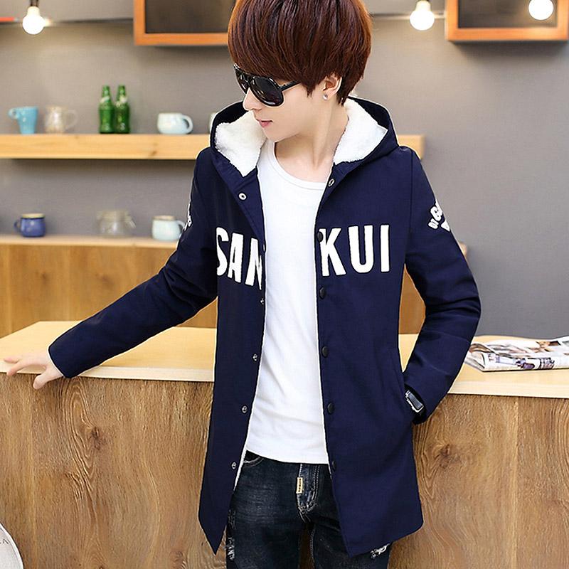 男士冬季棉服学生韩版棉衣中长款棉袄青少年青年衣服男冬装外套潮