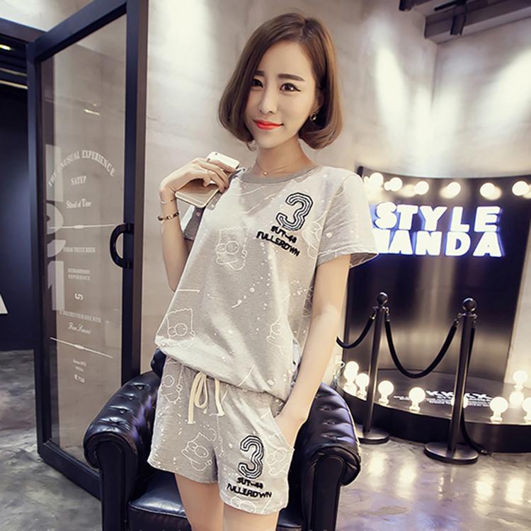 新款韩版运动套装女夏季纯棉时尚短袖短裤宽松休闲两件套学生薄款