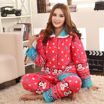 Thick coral velvet quilted pajamas female winter thick section within pajamas printed cotton men's tracksuit suit