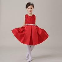 儿童礼服女公主裙红色秋冬连衣裙蓬蓬裙花童礼服女童 演出表演服