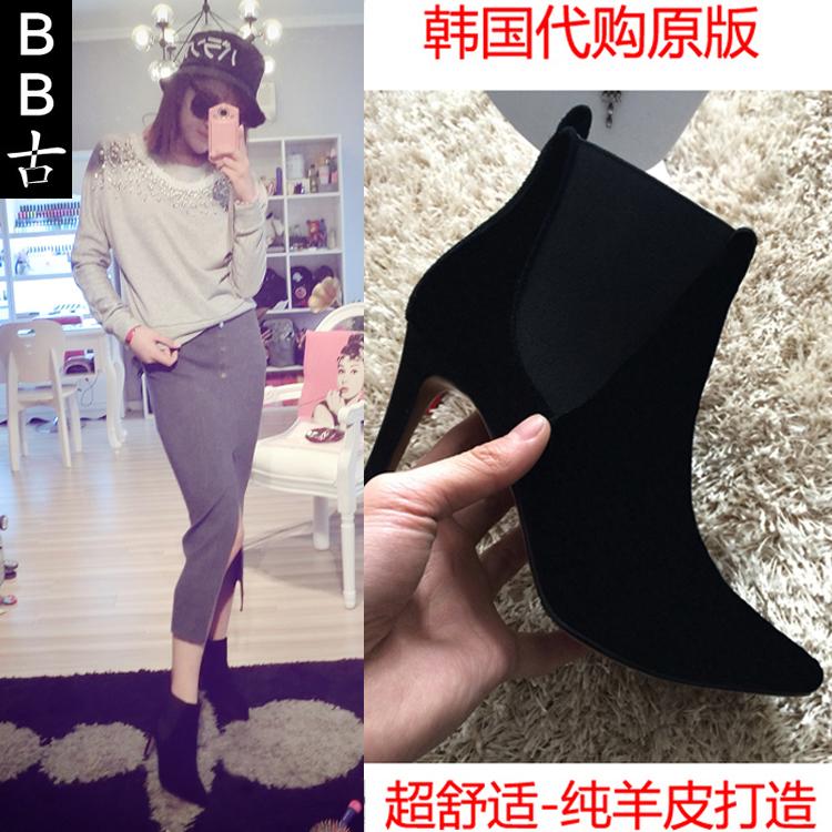 韩国代购新真皮春秋女磨砂尖头细跟短靴 及踝靴短筒裸靴绒高跟鞋