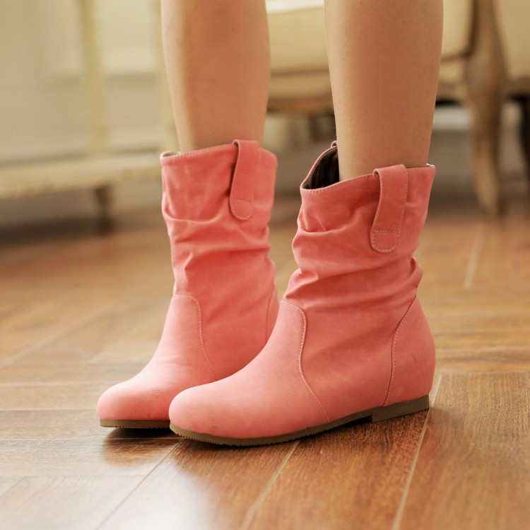Fall 2014 Korean version of the new Miss Han Guo boots increased within a single sweet round knight boots boots women boots