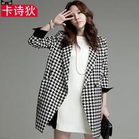 卡诗狄2015秋冬新款韩版时尚大码女装呢子大衣修身中长款毛呢外套