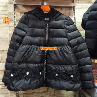 吉亮点童装2014冬装新款 女童韩版绣花棉衣棉服加厚外套14QD13198