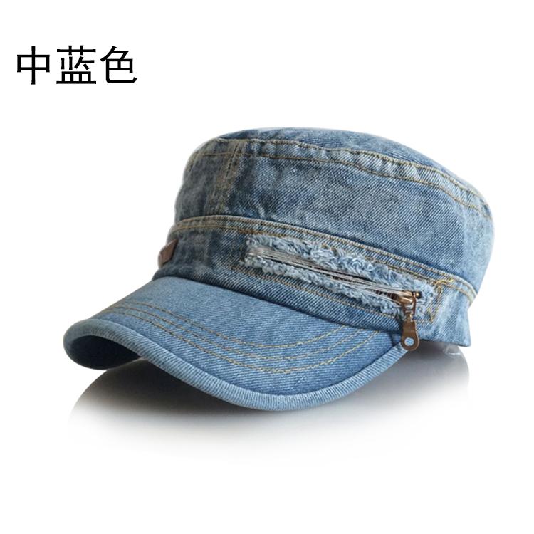 潮款牛仔帽子春夏季平顶旅游帽女韩版男户外休闲遮阳帽女士鸭舌帽