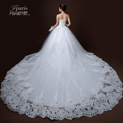 2014 Korean version of the new high-end aesthetic fantasy fashion lace long trailing wedding Bra-strap wedding dress