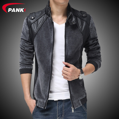 Pan-off fall and winter clothes new Korean version of Slim Men collar jacket denim PU leather influx of men plus velvet jacket