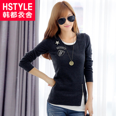 Korean homes have clothes Korean version of the 2013 new women's winter thick fake two long-sleeved T-shirt bottoming